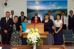 Pastor Lucatero and the GBS students in his new church.